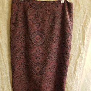 Beaded tapestry skirt with fringe hem